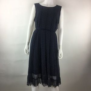 I Le New York Size 14 A-Line Dress Polka Dots Mesh